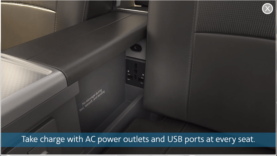 american premium economy power outlets