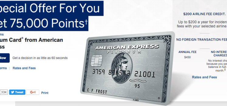 american express platinum card 75K bonus points offer