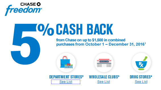 chase freedom fourth quarter 5x cash back