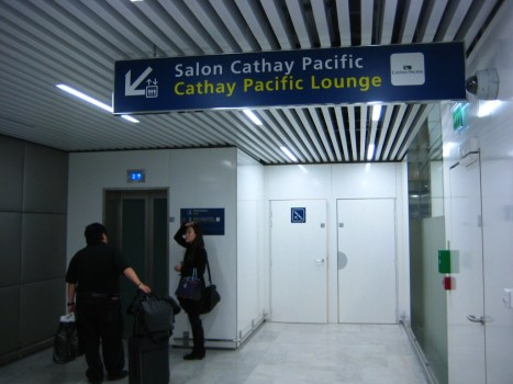 Ground level entrance to Cathay Pacific's lounge at CDG.