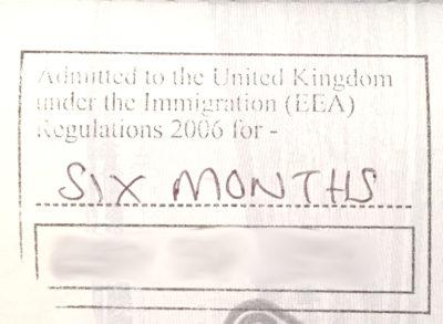 "EEA Dependant ""Code 1A"" stamp"