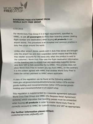 World Duty Free boarding pass statement