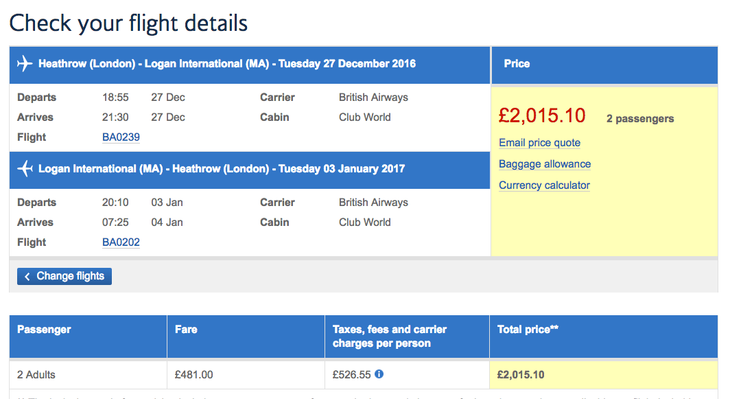 Sample date LHR-BOS 2 for £2016