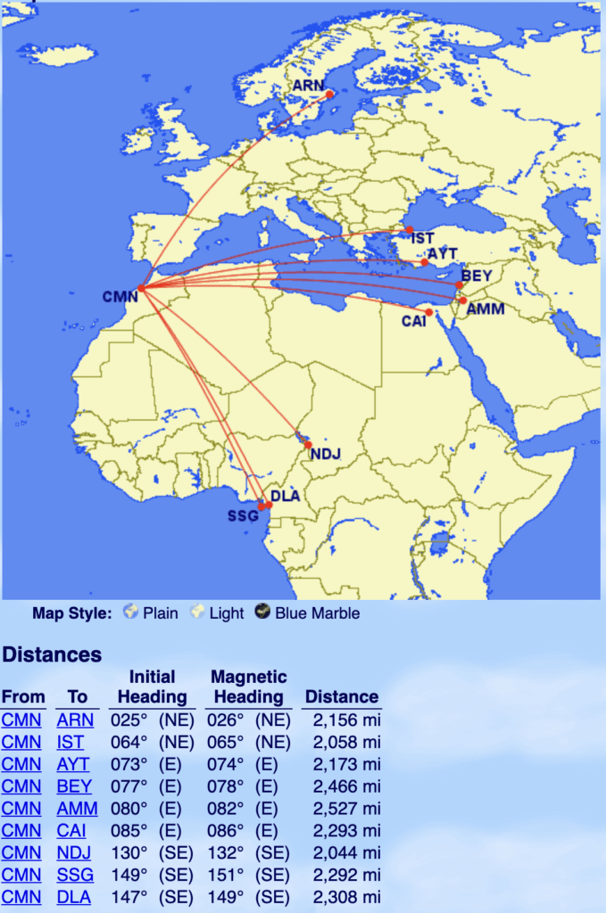 Royal Air Maroc 2000 mile marginal routes