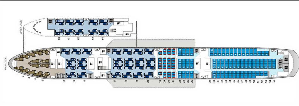 British Airways mid-J Boeing 747 seat map