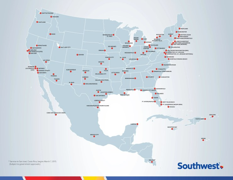Southwest Airlines International Route Map