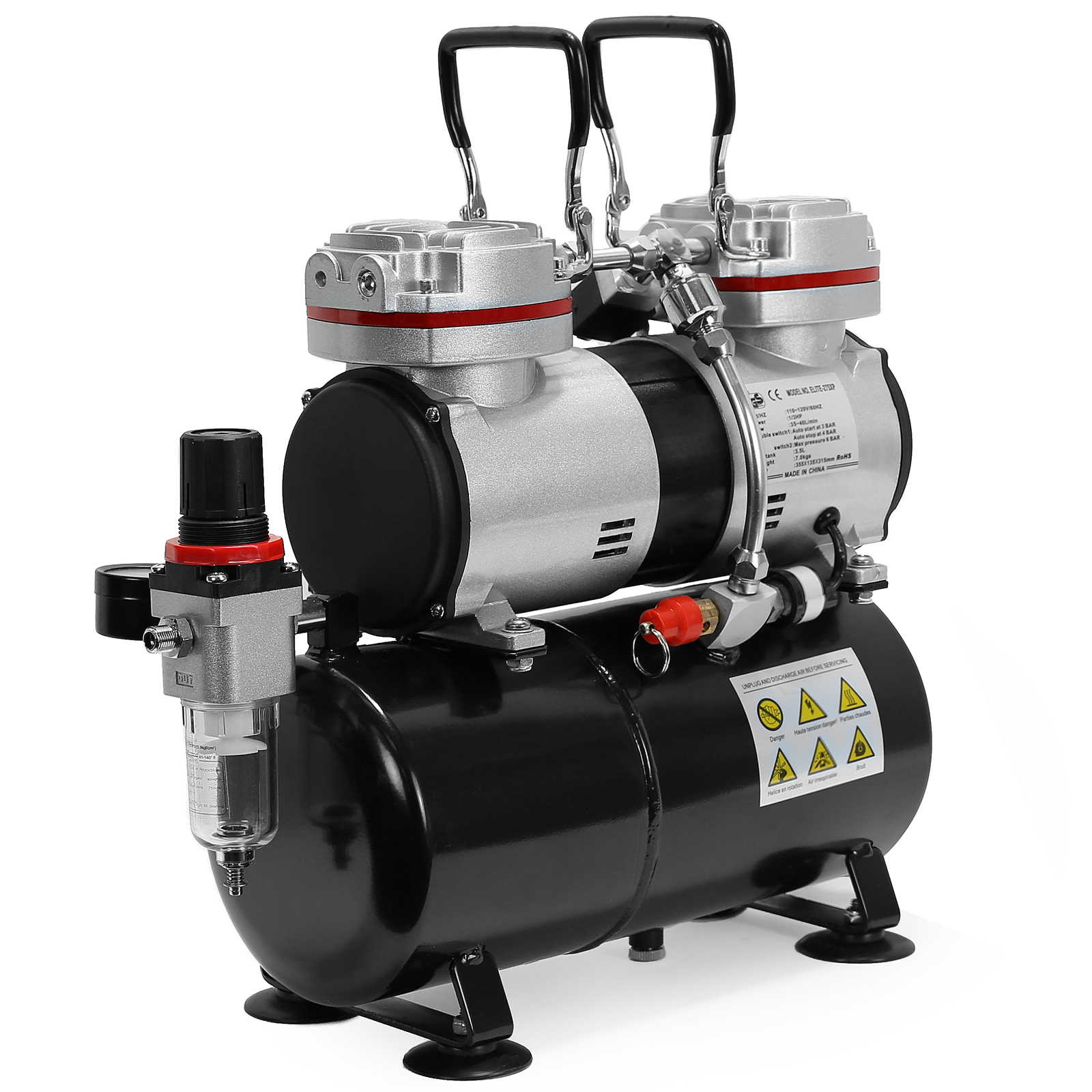 Regulator Quiet Professional Pump Gauge and Water Trap PointZero 1//3 HP Double Piston Airbrush Compressor with Air Tank