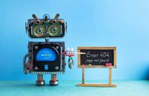404 error page not found. Robot teacher with pointer, black chalkboard handwritten error message.