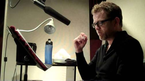 Scott Brick in the studio