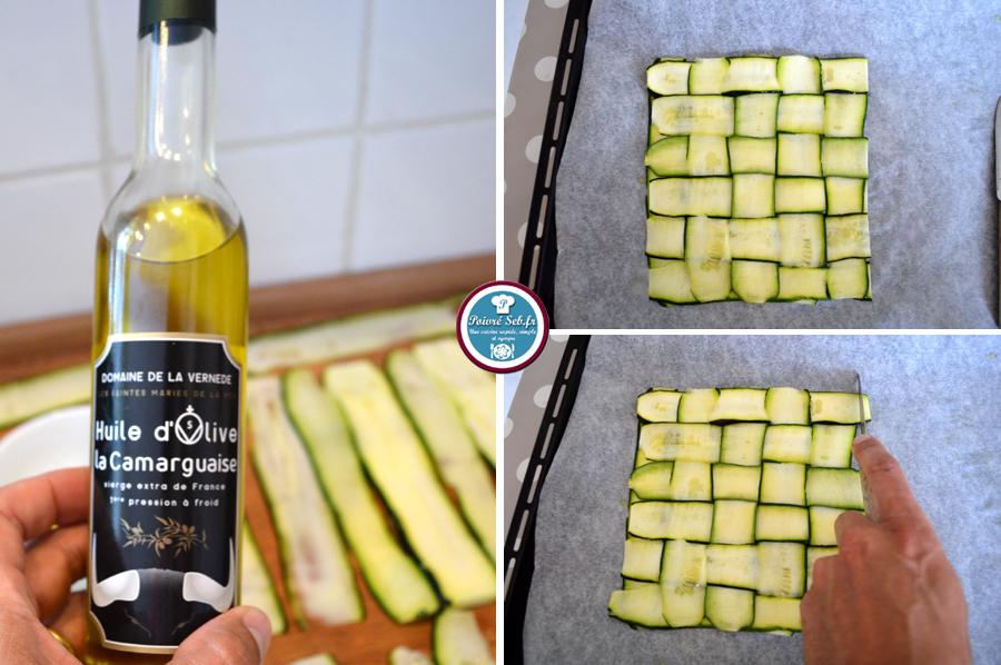 Damier de courgette_tapenade et mozzarella_préparation