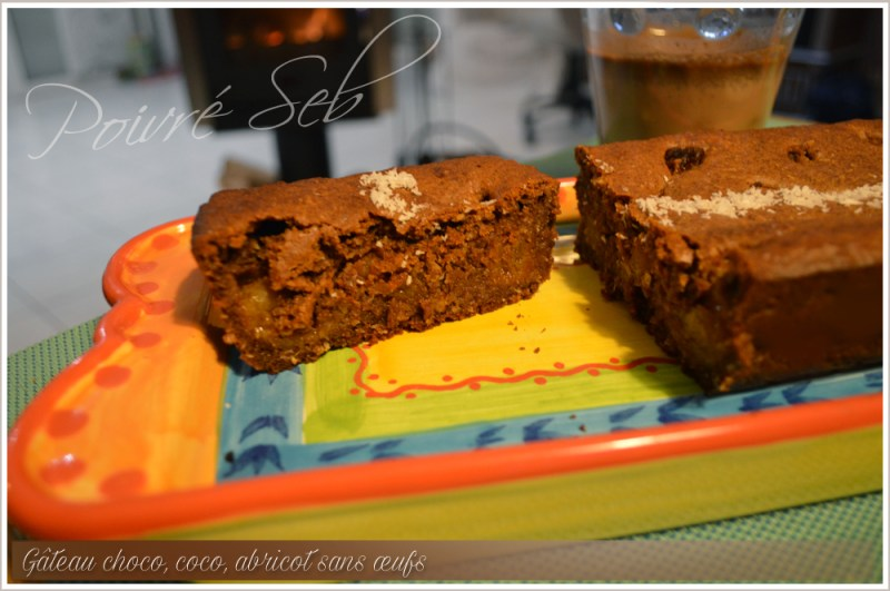 Gâteau choco, coco, abricot sans œuf