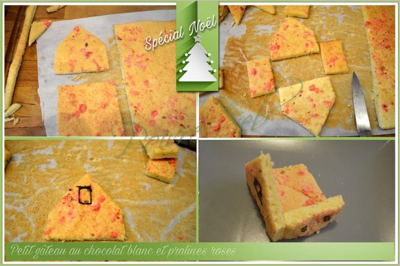 Petit gâteau au chocolat blanc et pralines roses_Montage