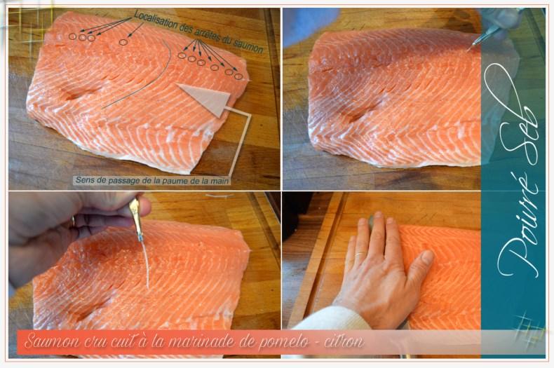 Saumon cru cuit à la marinade de pomelo-Préparation 2