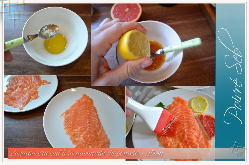Saumon cru cuit à la marinade de pomelo-Préparation