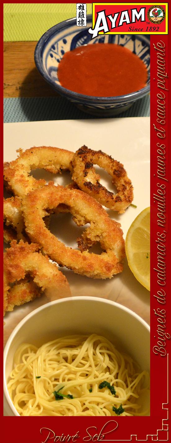 Beignets de calamars nouilles jaunes sauce piquante verticale
