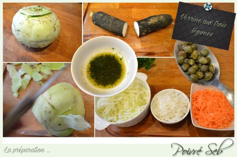 Verrine aux trois légumes la préparation