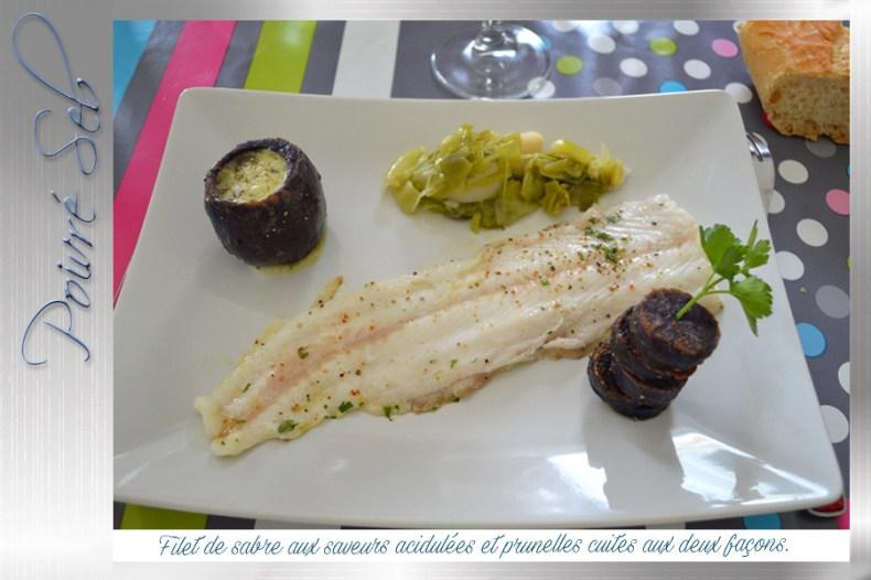 Filet de sabre aux saveurs acidulées et prunelles cuites aux deux façons 2