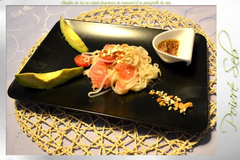 Nouilles de riz en salade fraicheur du moment et sa vinaigrette de soja copie
