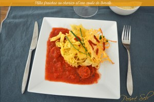 Pâtes fraiches au chorizo et son coulis de tomate