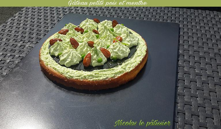 Gâteau petits pois et menthe