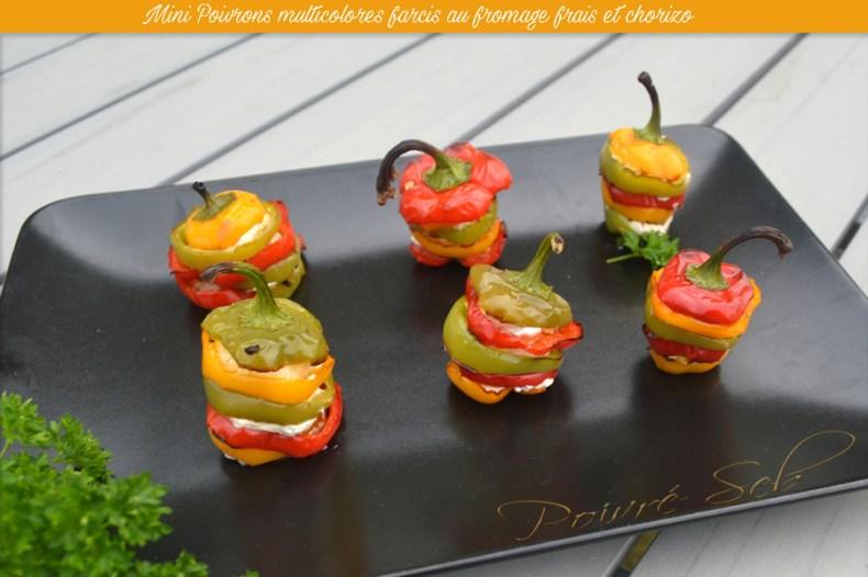 Mini Poivrons multicolores farcis au fromage frais et chorizo - Principale