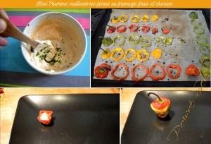 Préparation 2 Mini Poivrons multicolores farcis