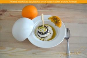 Prunelle caramélisée aux pistaches sur un nuage de citron
