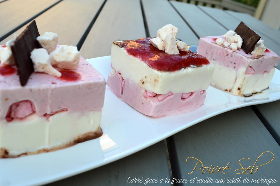 Carré glacé a la fraise et vanille aux éclats de meringue