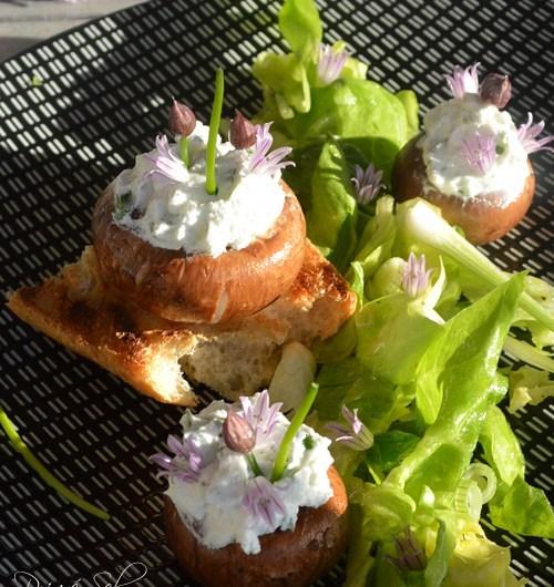 Champignons printaniers au chèvre fouetté et fleurs de ciboulette sur petite verdure.