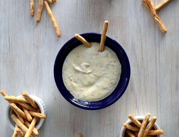 Sauce au fromage blanc, citron, curry, graines de sésame