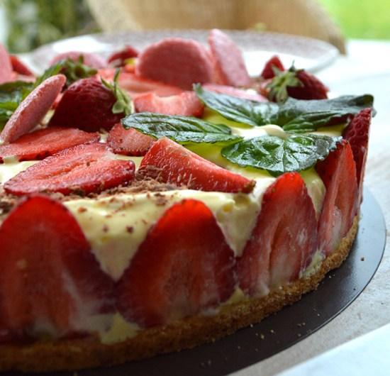Tarte fraisier au chocolat blanc