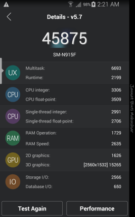 Samsung Galaxy Note Edge Score