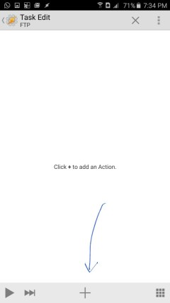 Click the plus button to add an action