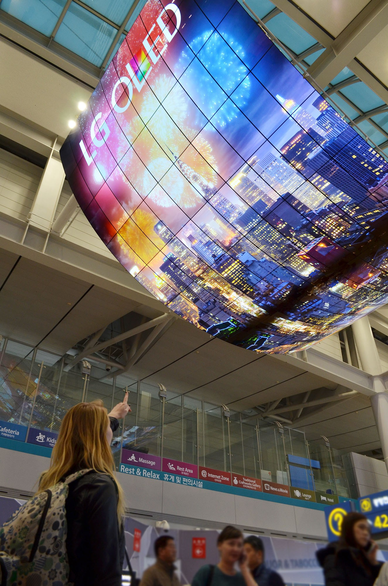 LG shows off their big OLED display at Incheon International