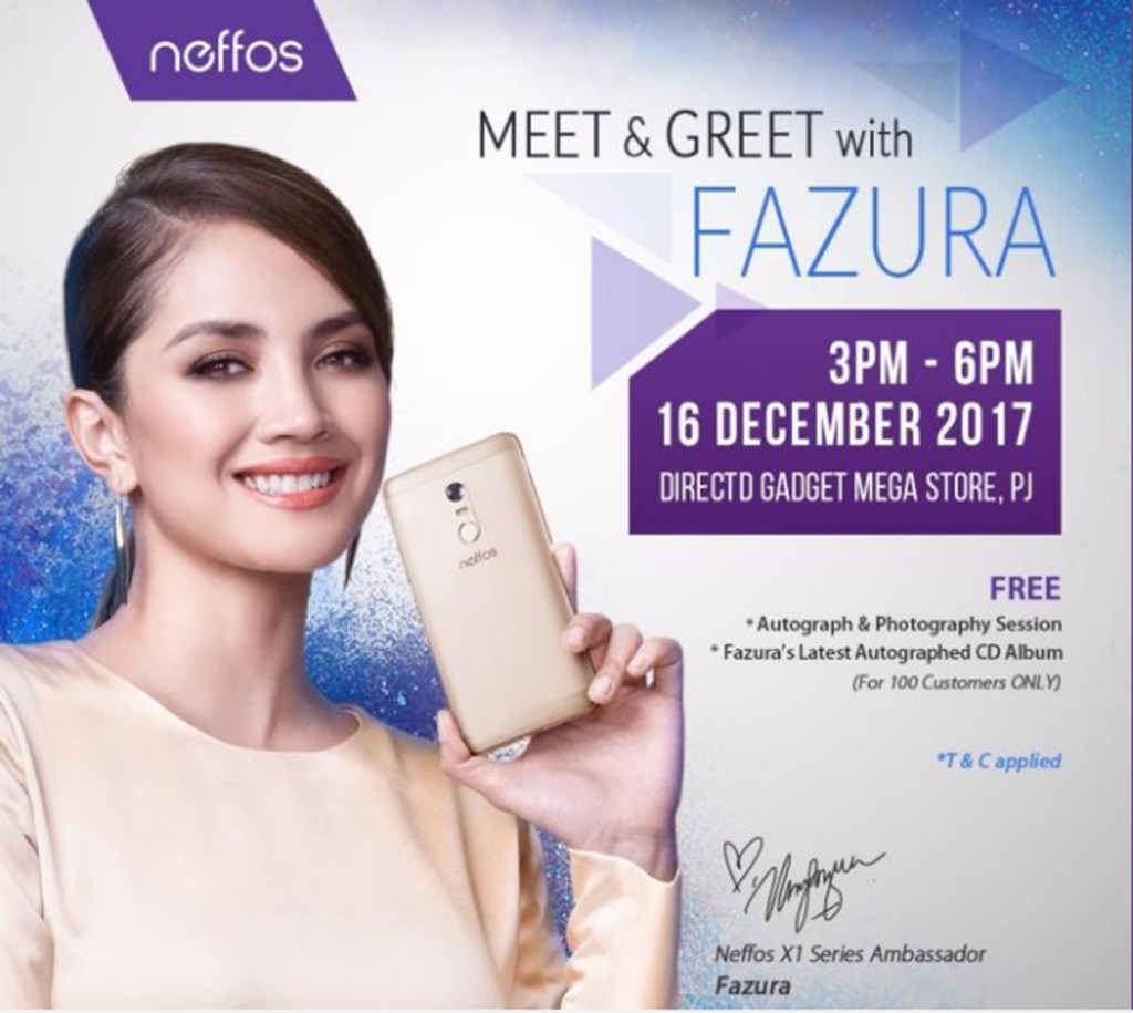 Get a chance to meet and greet fazura see the celebrity in person as the product ambassador for neffos fazura will be making a special appearance in a meet and greet session at directd gadget mega store pj this coming 16 m4hsunfo