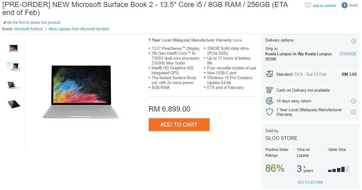 Microsoft Surface Book 2 up for pre-orders on Lazada