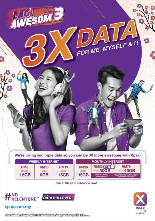Celcom Xpax Users Getting Triple Data #NoKelentong