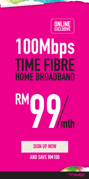 100Mbps Time Fibre Home Broadband RM99 promo