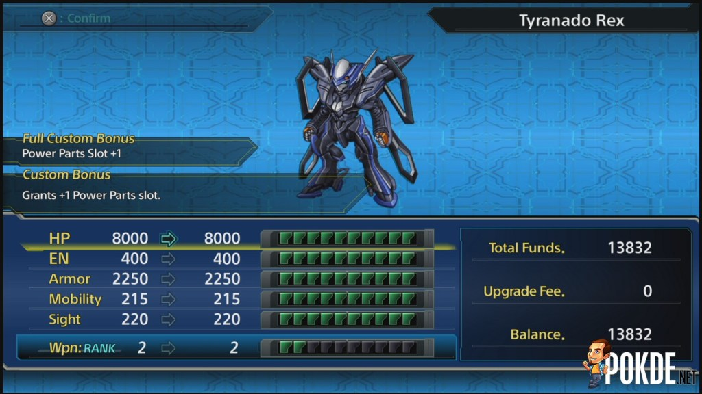 Mecha Upgrade Menu