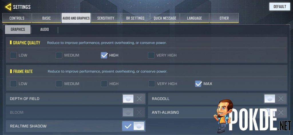 realme XT COD Mobile settings performance