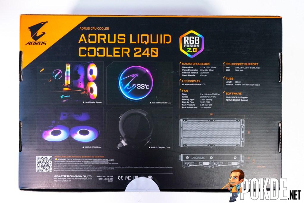 gigabyte aorus liquid cooler 240 box back