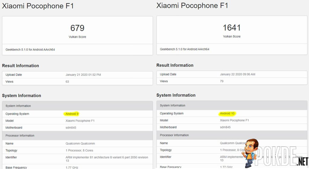 POCOPHONE F1's Android 10 update reportedly doubles GPU performance 23