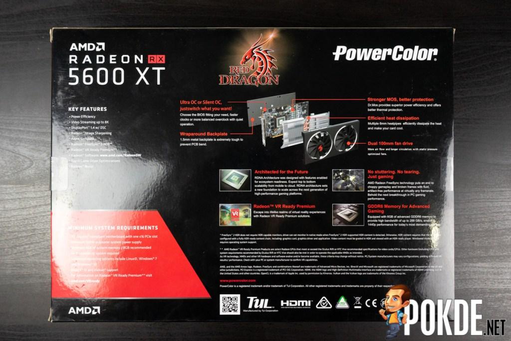 PowerColor Red Dragon Radeon RX 5600 XT box back