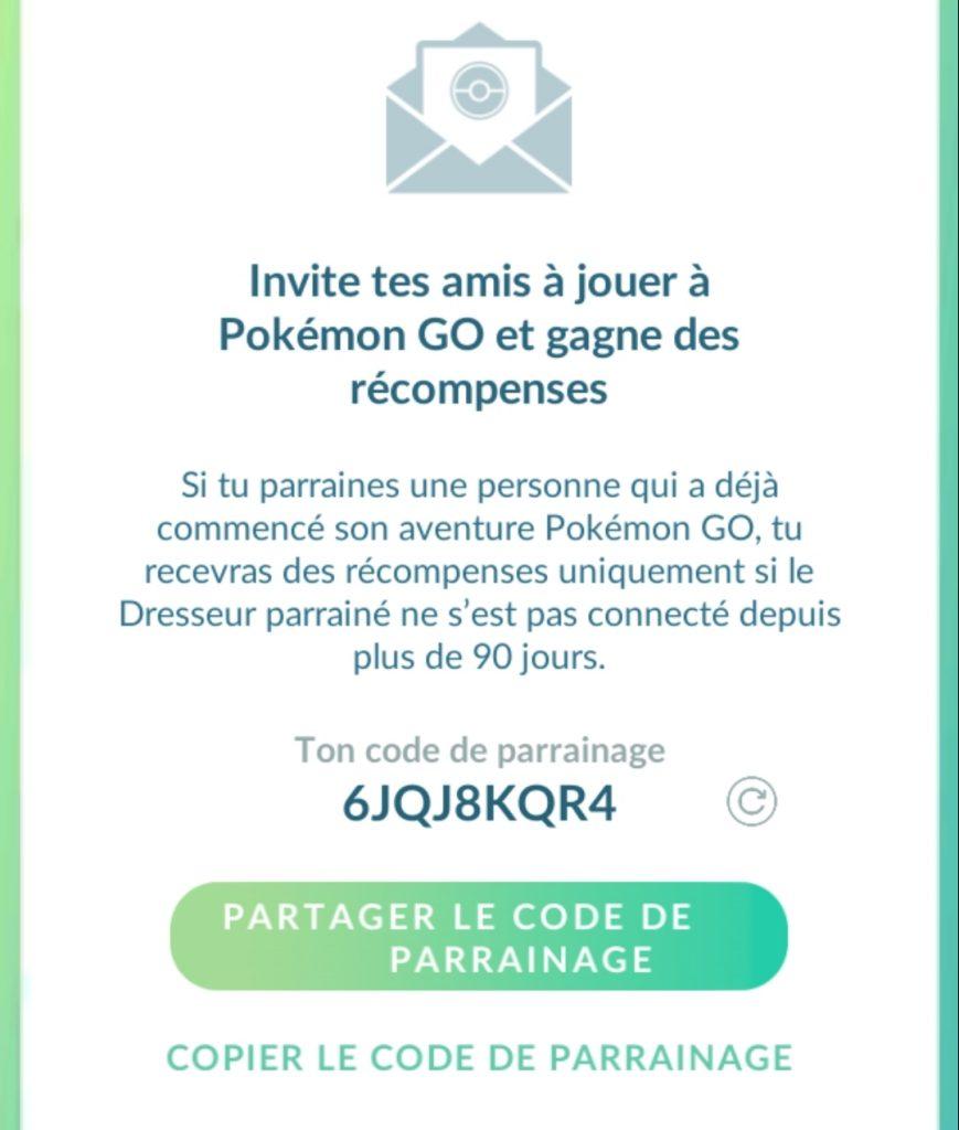 Pokémon GO parrainage