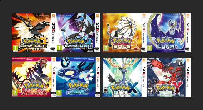 Nuove sezioni Giochi Pokémon di Sesta e Settima Generazione