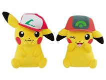 pokemon_plushies_of_pikachu_wearing_ashs_hats_from_kanto_and_hoenn