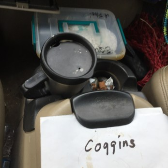 The 4 things that pretty much never leave my truck - 1st aid kit, treats, coggins & coffee!