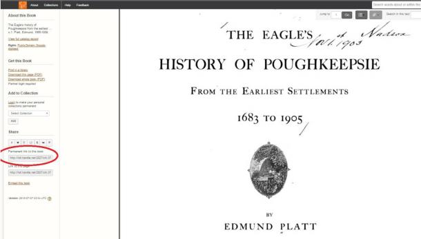 Title page from The Eagle's History of Poughkeepsie as found in the Hathi Trust Digital Library.