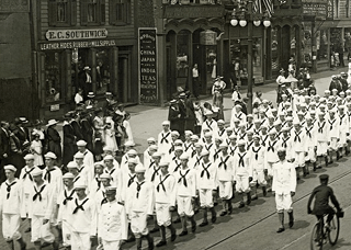 Vintage photo of sailors marching in a parade on Main St., Poughkeepsie