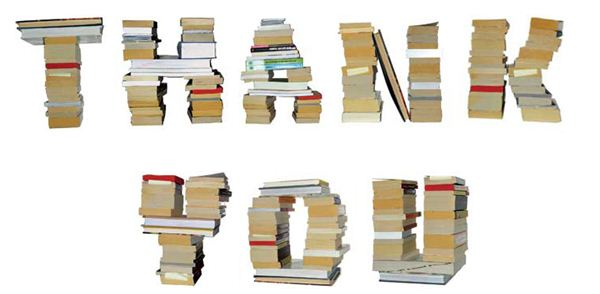 Image of books stacked to spell words thank you